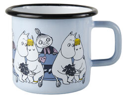 Moomin Friends enamel mug, 3,7 dl, blue