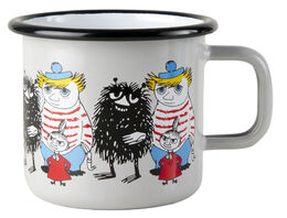 Moomin Friends enamel mug, 3,7dl, grey