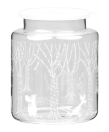 Moomin Glass jar with silicone lid, 2 L, In the Woods