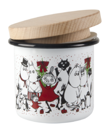 Moomin enamel jar with wooden lid, 3,7dl, Winter Magic