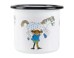 Pippi and the Horse enamel mug, 2,5 dl