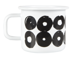 Enamel mug 3,7dl, white/black