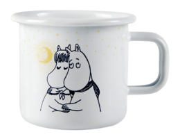Moomin enamel mug, 3,7 dl, Winter romance white