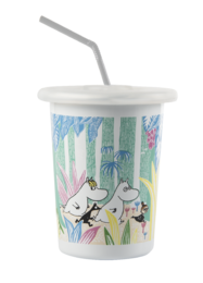 Moomins in the Jungle Enamel tumbler 5dl with silicone lid with a straw hole
