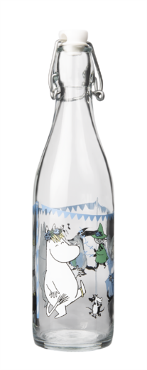 Moomin Glass Bottle, 0,5 L, Summer Party