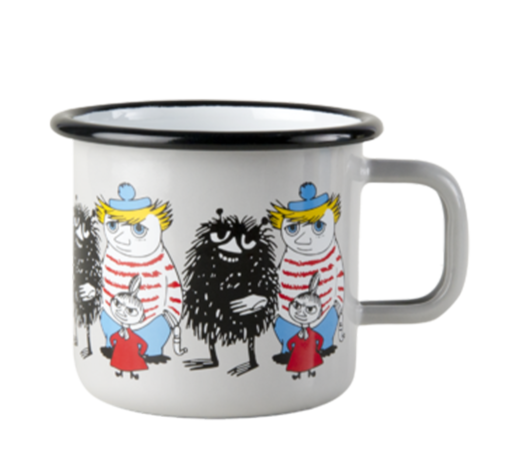 Moomin Enamel Mug Friends grey 3,7dl