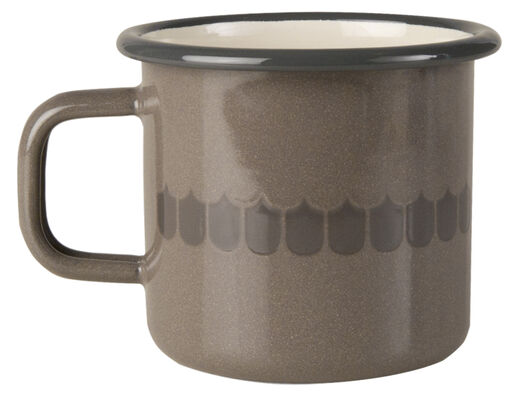 Kitchen series with Vappu enamel mug, 3,7dl, brown