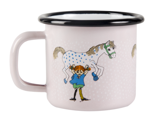 Pippi Enamel Mug Pippi and the Horse 1,5dl
