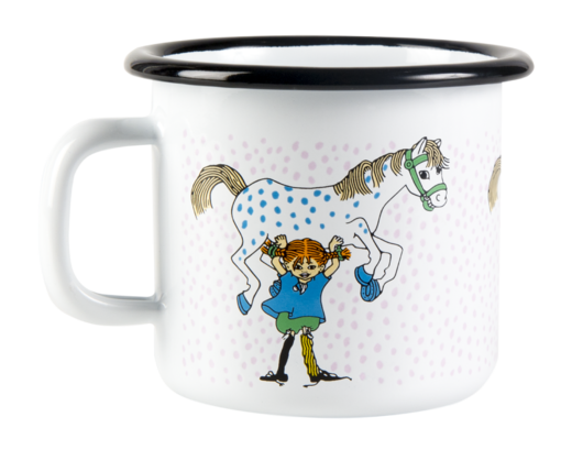 Pippi Enamel Mug Pippi and the Horse 2,5dl