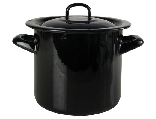 Basic enamel pot with lid, 1,5L, black