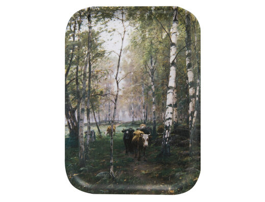 Cattle in the birch woods tray, 27x20cm
