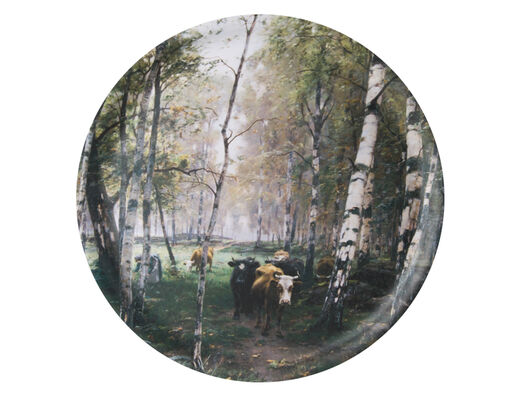 Cattle in the birch woods tray, 35cm