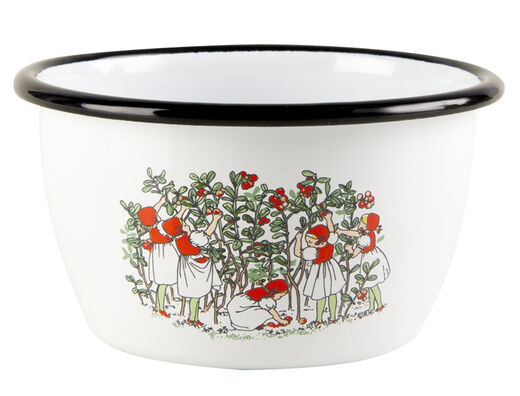 Elsa Beskow enamel bowl, 3dl, Lingonberries