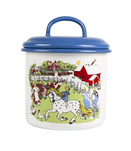 Emil enamel jar with lid, 1,3 L
