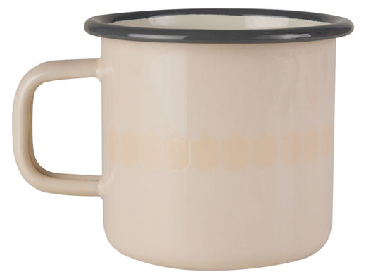 Kitchen series with Vappu enamel mug, 3,7dl, beige