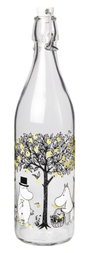 Moomin Glass Bottle, 1 L, Apples