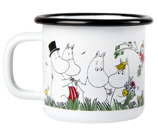 Moomin enamel mug, 1,5dl, Happy Family
