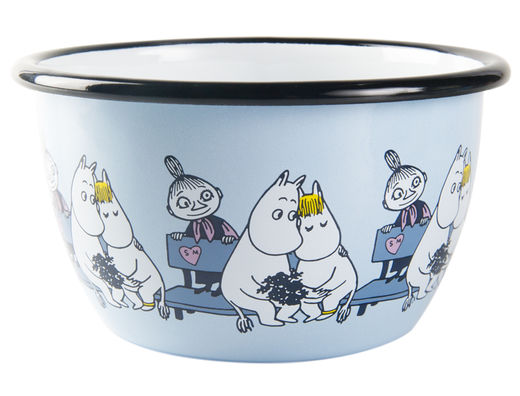 Moomin Friends enamel bowl, 6dl, blue