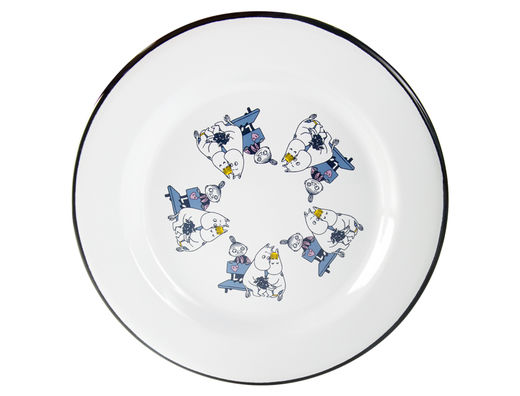 Moomin Friends enamel plate, 24cm, blue
