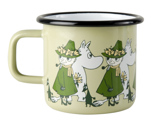 Moomin Friends enamel mug, 3,7dl, green