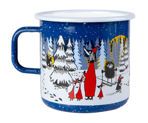Moomin enamel  mug, 8dl, Winter Forest