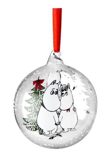 Winter Magic decoration ball, Moomin and Snorkmaiden, 9cm