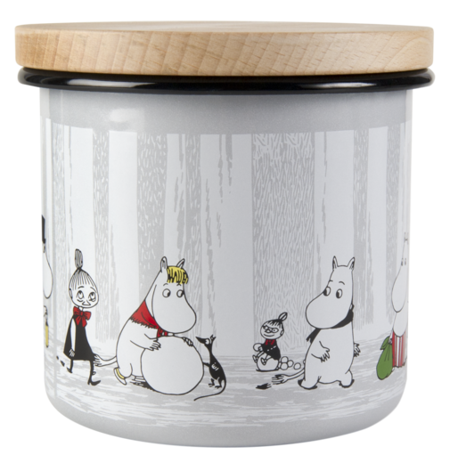 Moomin enamel jar wit wooden lid, 1,3 l, Winter Trip