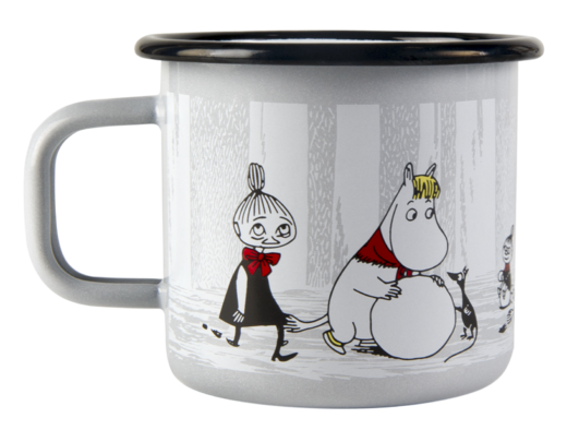 Moomin enamel mug, 3,7 dl, Winter Trip