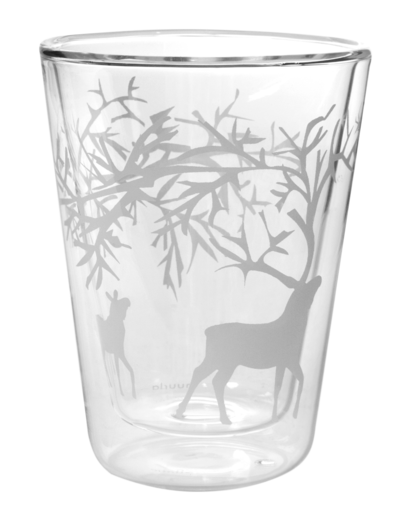 Reindeer double wall glass for hot drinks, 3dl, 2pcs/pkg