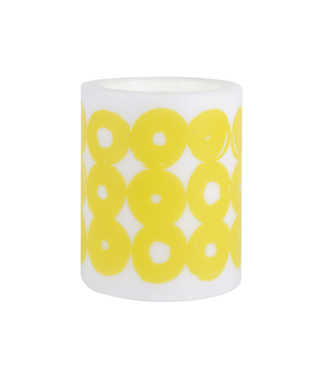 TWIRL, Candle 12cm, white/yellow