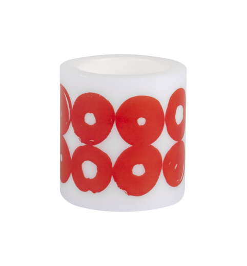 TWIRL, Candle 8cm, white/red